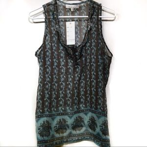 Solitaire blouse sleeveless tassels size small NWT